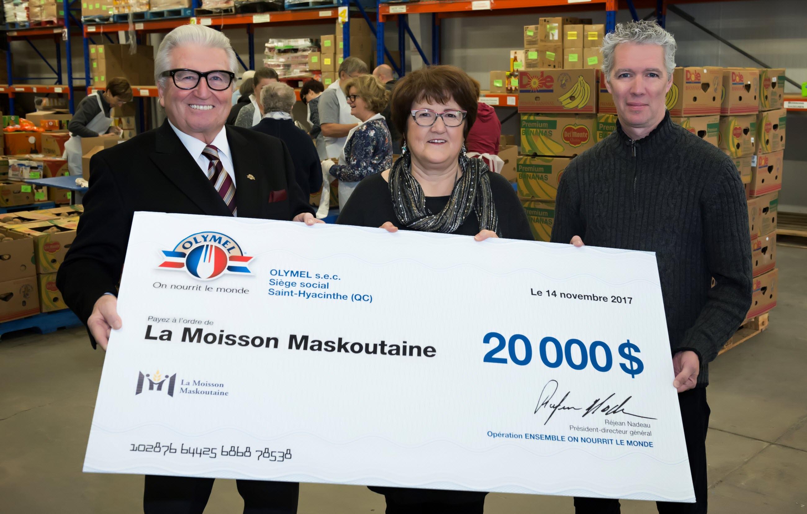 Olymel remet 20 000 $ à la Moisson Maskoutaine